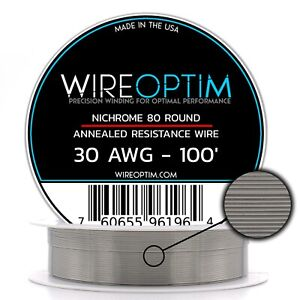 30 Gauge Awg Nichrome 80 Wire 100 Length N80 Wire 30g Ga 0 254 Mm 100 Ft