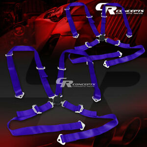 2x 4 Point 2 Wide Blue Strap Harness Safety Camlock Style Racing Seat Belt Bolt