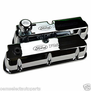 Oem New Ford Racing Chrome Aluminum Valve Covers Breather Sbf 302 351 289 281