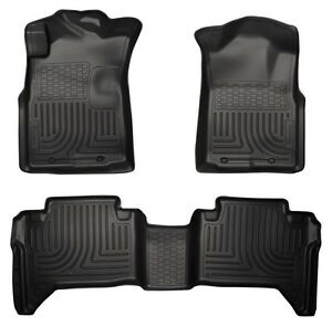 2005 2013 Toyota Tacoma Husky Black Weatherbeater Front 2nd Row Floor Liners