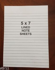 Refill Note Paper Loose Ruled Sheets 5 X 7 100 Sheets Lot Of 3