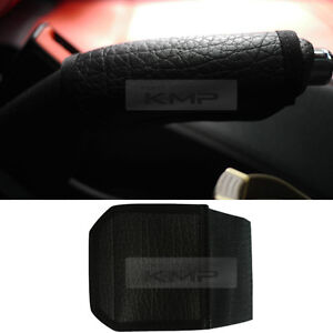Hand Emergency Brake Black Leather Cover For For Universal Car Vehicle