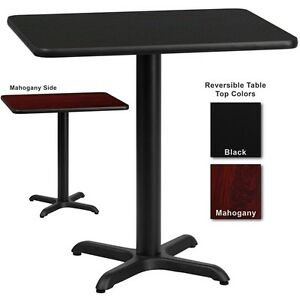 24 X 30 Restaurant Table With Black Or Mahogany Reversible Laminate Top