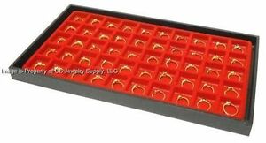 12 Black Trays With 50 Space Red Liners Charms Rings Body Jewelry Display