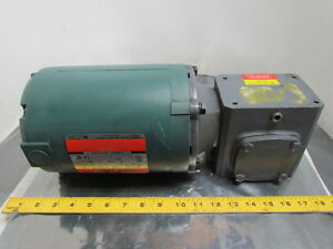 Reliance Electric 3 4 Hp 3ph 56c Motor W boston 5 1 Speed Reducer Gear Box