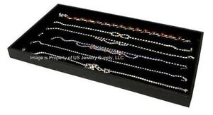 12 Black 6 Slot Jewelry Display Trays For Necklaces Pendant Chains