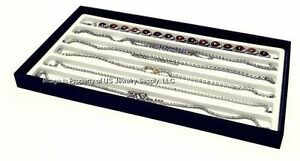 12 Black Display Trays With 6 Slot White Liners Necklace Pendant Chain Display