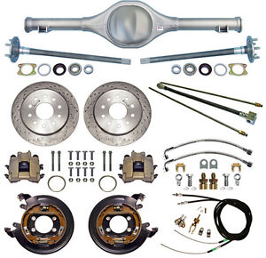 Currie 64 66 Mustang Rear End Drilled Disc Brakes Lines E Brake Cables Axles
