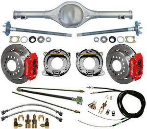 Currie 64 66 Mustang Rear End Wilwood Disc Brakes Red Calip Lines Cables Axles