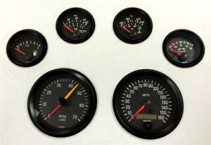 6 Gauge Set Vdo Genuine Gauges Speedo Tacho Oil Temp Fuel Volt Black Black
