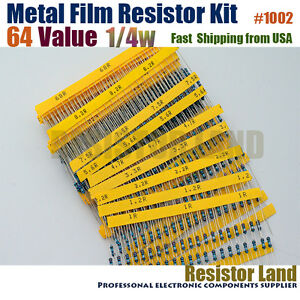 1280pcs 64 Value 20pcs Each 1 1 4w Metal Film Resistor Assortment Kit