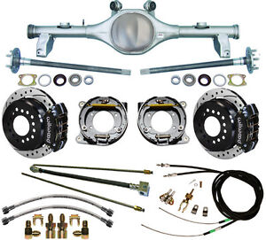 Currie 78 87 Gm G body Rear End Wilwood Drilled Disc Brakes black lines cables