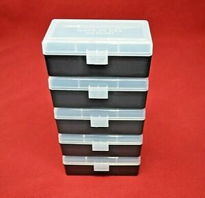 38  357 (5 pack) PLASTIC STORAGE AMMO BOXES (CLEAR COLOR ) BERRY'S MFG. 38357