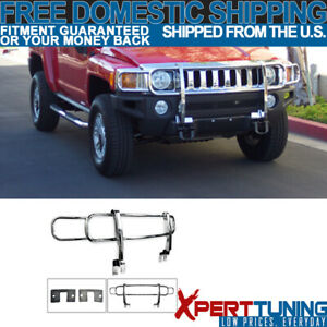 Fit 06 09 H3 Front Bumper Grille Polished Chrome Stainless Steel Brush Guard New