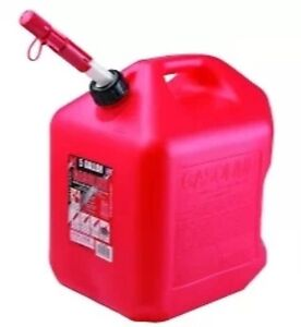 5 Gallon Gas Can W spill Proof Spout Red Poly plastic Gas Can Free Shipping