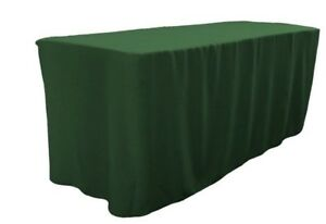 4 Ft Fitted Polyester Table Cover Trade Show Booth Dj Tablecloth Hunter Green