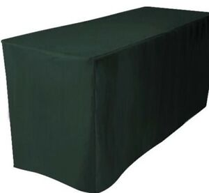 5 Ft Fitted Polyester Table Cover Trade Show Booth Dj Tablecloth Hunter Green