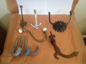 Antique Vintage Lot Of 8 Towel Coat Hat Wall 2 Are Double Hooks Rare Designs