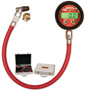 New Longacre Deluxe Digital Tire Pressure Gauge 0 25 Psi Angle Chuck 50392