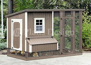 Hen House Chicken Coop With Run 4 X 8 Modern Roof Style Plans Design 70408rm