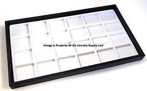 12 Black Trays 24 Space White Pins Beads Jewelry Display