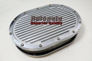 12 Oval Elite Aluminum Air Cleaner Finned Polish Sbc Bbc Eliminator Chevy Ford