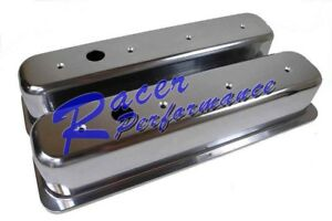 Sbc Chevy Smooth Polish Cast Aluminum Centerbolt Valve Cover 305 350 Tall Vortec