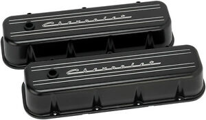 Billet Specialties Chevrolet Script Black Aluminum Bbc Tall Valve Covers chevy