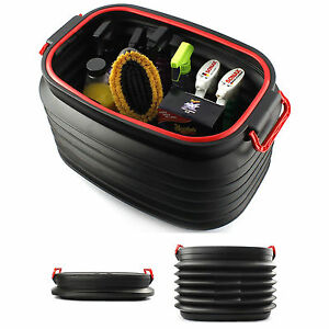 New Portable Collapsible Car Trunk Cargo Organizer Lid Colsole Bag Storage Black