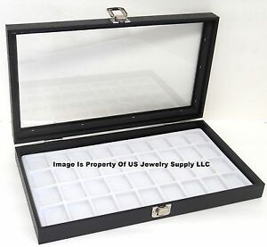 1 Glass Top Lid White 36 Space Jewelry Display Box Case Pendant Pin Brooch