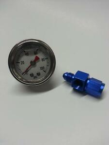 Fuel Pressure Gauge 0 60 Psi White Liquid Filled With Fitting
