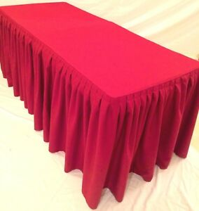 8 Ft Fitted Polyester Double Pleated Table Skirt Cover W top Topper Shows Red