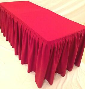 6 Ft Fitted Polyester Double Pleated Table Skirt Cover W top Topper Shows Red