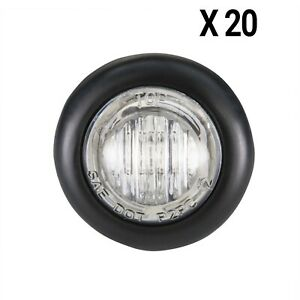 3 4 Clear Led Trailer Bullet Light Clearance Marker Black Trim Ring 20 Pk