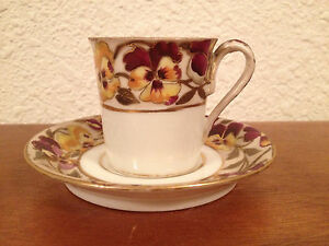 Antique Royal Vienna Cup Saucer W Painted Floral Decoration