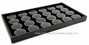 1 Black 24 Jar Tray Use For Gems Beads Coins Gold Nuggets Body Jewlery Display