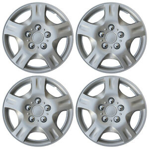 Hub Cap Abs Silver 14 Inch Rim Wheel Skin Cover Center 4 Pc Set Caps Covers