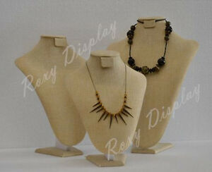3 Necklace Stands Linen Earrings Jewelry Display jw ln a3 A4 A5