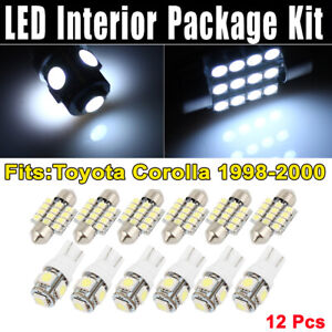 12 Pcs Dome White Led Lights Interior Package Kit For Toyota Corolla 1998 2000
