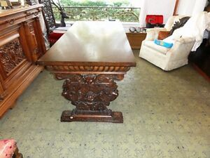 Antique 19th Cen Heavily Carved Walnut Renaissance Table Desk With Drawers