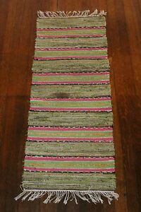 Bright Swedish Antique And Handmade Rag Rug Table Runner 1930s 16x41 Inches