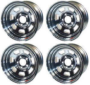 New 15x10 Allied Racing Wheel Set Chrome 5 X 5 4 Bs 7250050 40 Chevy Gm Olds