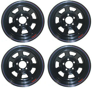 New 15x10 Allied Wheel Set Black 5 X 4 75 4 Bs 7350034 40 Chevy Gm Buick Olds