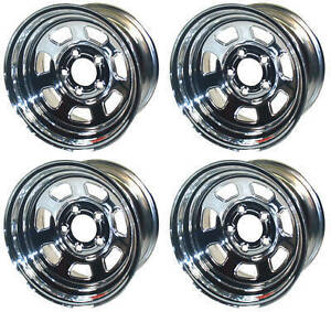 New 15x8 Allied Racing Wheel Set Chrome 5 X 4 75 4 Bs Chevy Buick Gm Olds Gmc