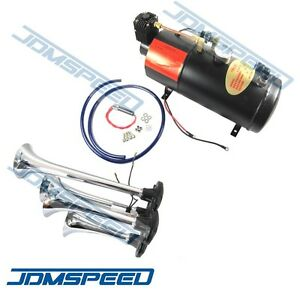New 4 Trumpet Chrome Train Air Horn With 150 Psi 3 Liter 12v Air Compressor