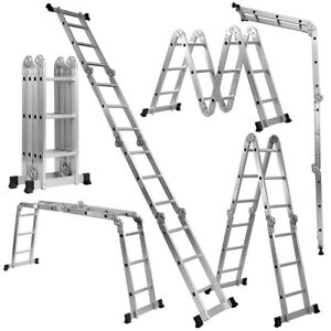 12 5ft En131 330lb Multi Purpose Step Platform Aluminum Folding Scaffold Ladder