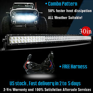 30 Inch Led Light Bar Curved Off Road Truck Driving Boat Driving Suv 4x4 Jeep 32