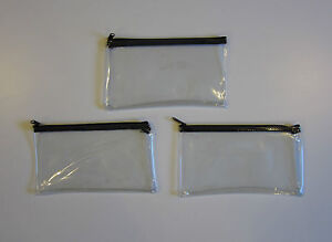 3 Clear Vinyl Zipper Wallets Bank Bag Money Jewelry Pouch Coin Currency Coupons