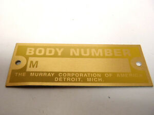 Ford Model A Murray Murrey Murry Body Number Plate 1928 1931