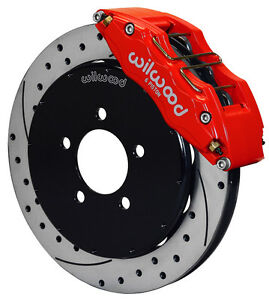 Wilwood Disc Brake Kit Front 05 13 Mazda 3 13 Drilled Rotors 6 Piston Red Calip